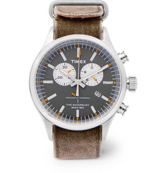 Timex - Archive Waterbury Chronograph Stainless Steel and Oiled-Canvas Watch