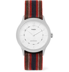 Timex - Whitney Village Reversible Stainless Steel and Grosgrain Watch