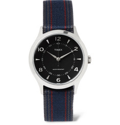 Timex Whitney Village Stainless Steel And Striped Grosgrain Watch
