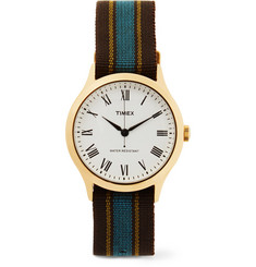 Timex - Archive Whitney Avenue Gold-Tone And Striped Grosgrain Watch