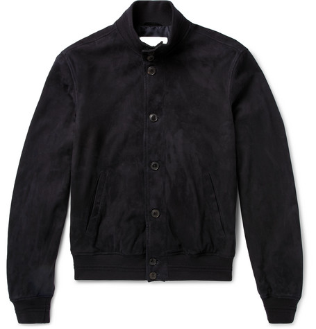 Slim-fit Suede Bomber Jacket - Navy