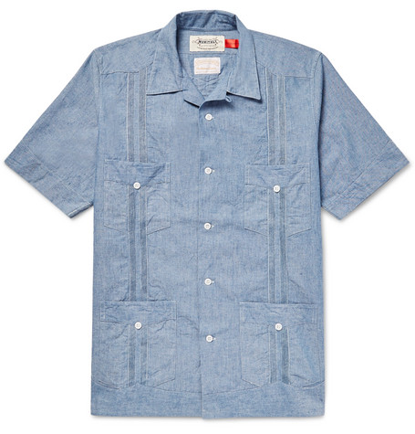 MONITALY Guayabera Camp-collar Cotton-chambray Shirt - Blue YhnSY6jYq
