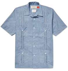 Monitaly Guayabera Camp-Collar Cotton-Chambray Shirt