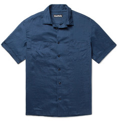 Monitaly Camp-Collar Slub Linen Shirt