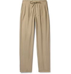 Monitaly - Pleated Brushed-Cotton Drawstring Trousers