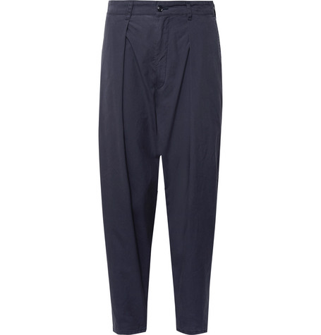 Tapered Pleated Brushed-cotton Trousers MONITALY