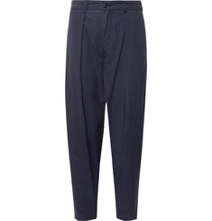 Monitaly - Tapered Pleated Brushed-Cotton Trousers