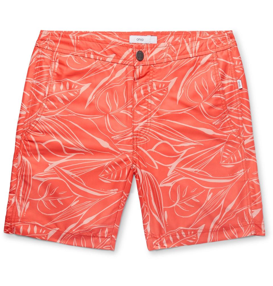 Calder Long-length Printed Swim Shorts - Coral