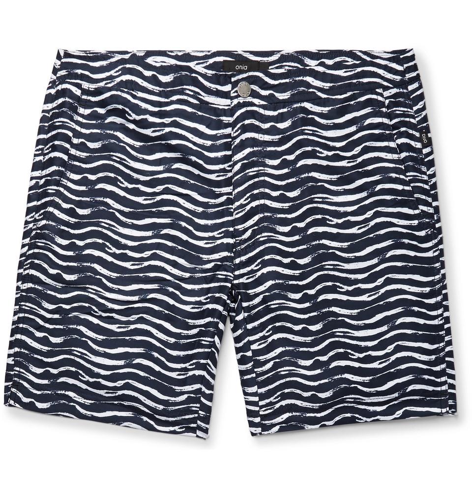 Calder Long-length Printed Swim Shorts - Storm blue