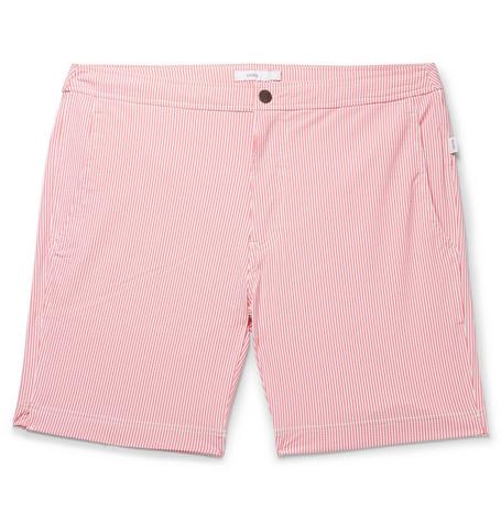 ONIA Calder Long-length Striped Stretch-seersucker Swim Shorts - Brick Nzrbr