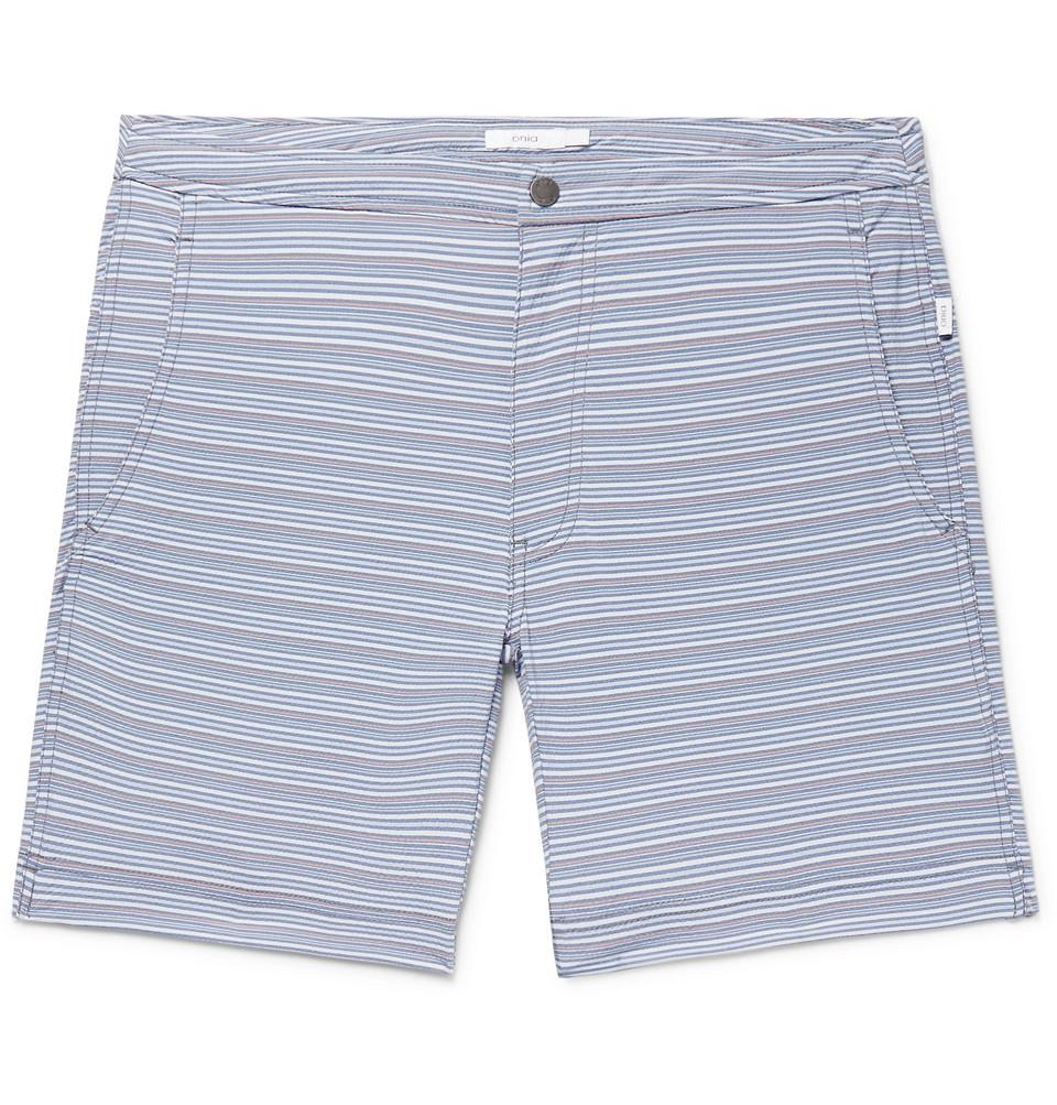Calder Long-length Striped Stretch-seersucker Swim Shorts - Blue
