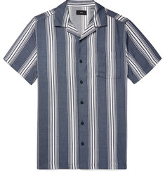 Onia Vacation Camp-Collar Striped Cotton-Blend Shirt