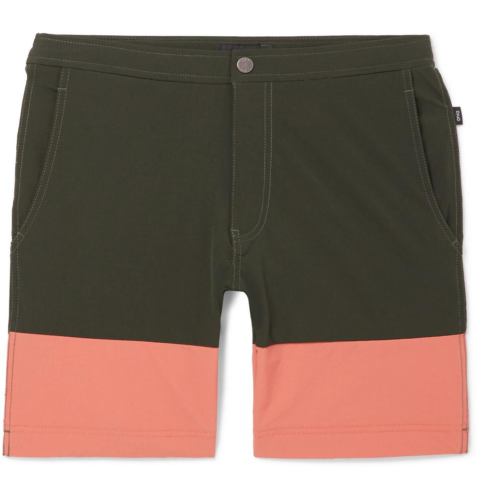 Calder Long-length Colour-block Swim Shorts - Army green