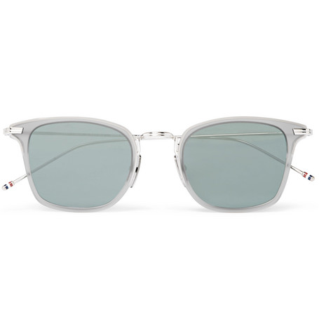 Thom Browne Square-Frame Matte-Acetate And Silver-Tone Sunglasses In Gray