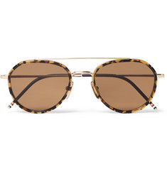 Thom Browne Aviator-Style Tortoiseshell Acetate and Gold-Tone Sunglasses