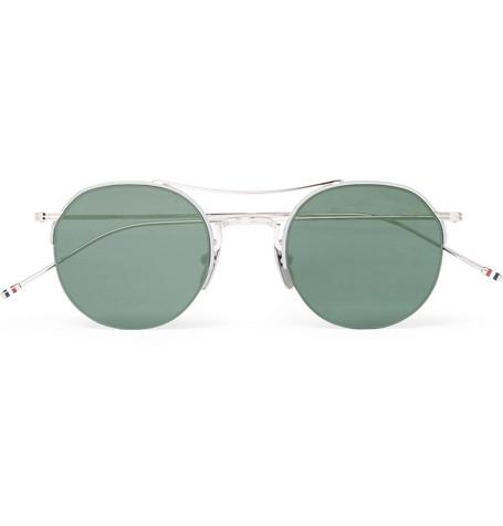Thom Browne Aviator-Style Silver-Tone Mirrored Sunglasses