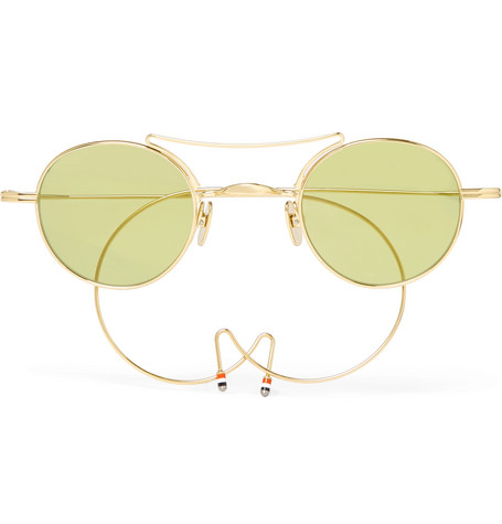 Thom Browne Aviator-Style Gold-Tone Sunglasses - Gold - One Siz