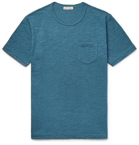 ALEX MILL Mélange Slub Cotton-jersey T-shirt - Teal 0FDDD