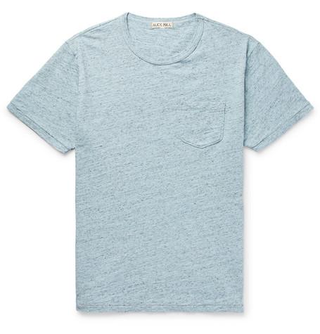 ALEX MILL Mélange Slub Cotton-jersey T-shirt - Sky blue 6u7HSqkI
