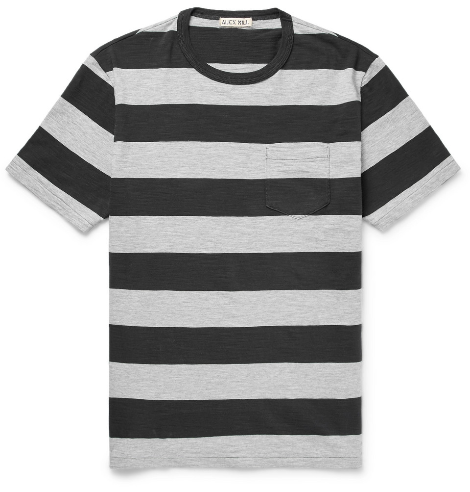 Mélange Striped Cotton-jersey T-shirt - Gray