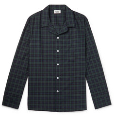 Sleepy Jones - Henry Piped Black Watch Checked Cotton Pyjama Shirt