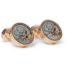 TATEOSSIAN Skeleton Enamelled Rose Gold-Plated Cufflinks
