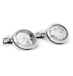 TATEOSSIAN Rhodium-Plated Opal Cufflinks