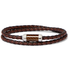 TATEOSSIAN Monte Carlo Braided Leather and Sterling Silver Bracelet