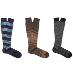 Missoni Three-Pack Crochet-Knit Cotton Socks