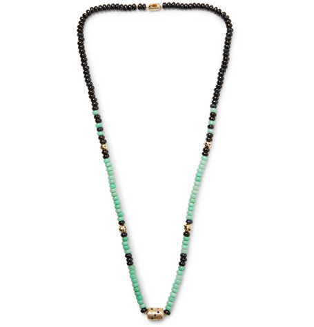 Luis Morais Gold, Tigers Eye And Chrysoprase Necklace - Turquoise