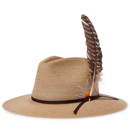 HOPPER + STETSON EMBROIDERED BRAIDED HEMP HAT