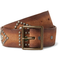 RRL 4.5cm Brown Studded Leather Belt