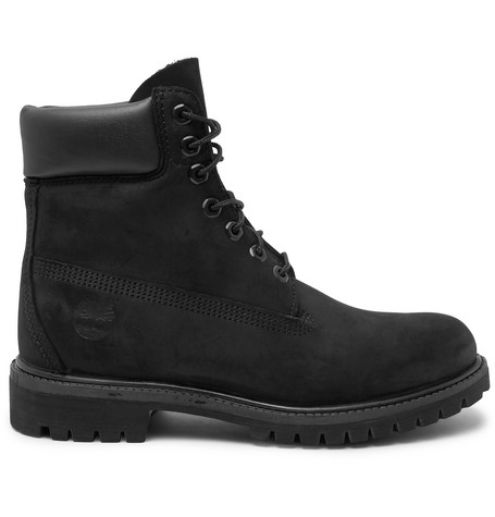 Timberland Premium Waterproof Leather-trimmed Nubuck Boots In Black