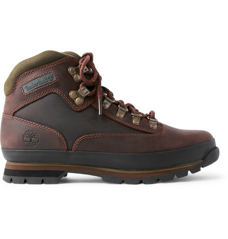 Timberland Euro Hiker Rubber-trimmed Leather Boots - Brown