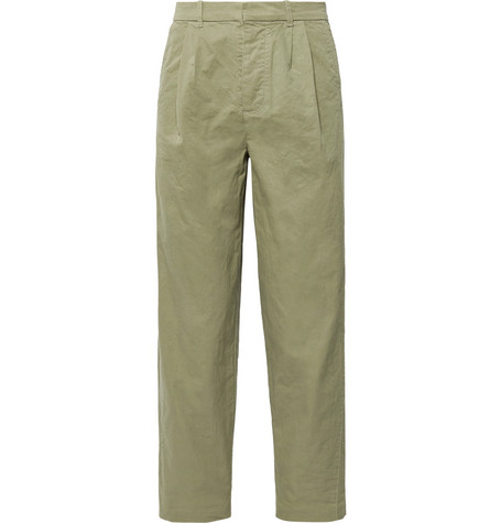Fanmail Cropped Pleated Organic Cotton Trousers In Sage Green