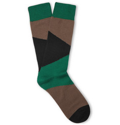 The Workers Club Camouflage Cotton-Blend Socks