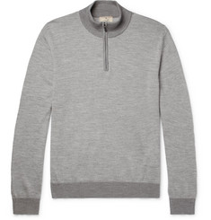 Hackett Mélange Wool-Blend Half-Zip Sweater