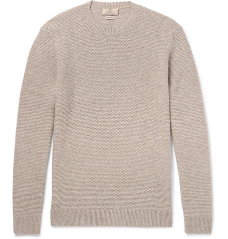 Hackett Elbow-patch MÉlange Linen, Wool, Ilk And Cashmere-blend Weater - Mushroom