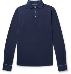 Hackett Slim-Fit Cotton and Silk-Blend Polo Shirt