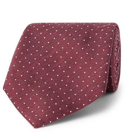 Hackett 8cm Pin-dot Silk And Linen-blend Tie In Burgundy