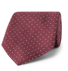 Hackett 8cm Pin-Dot Silk and Linen-Blend Tie
