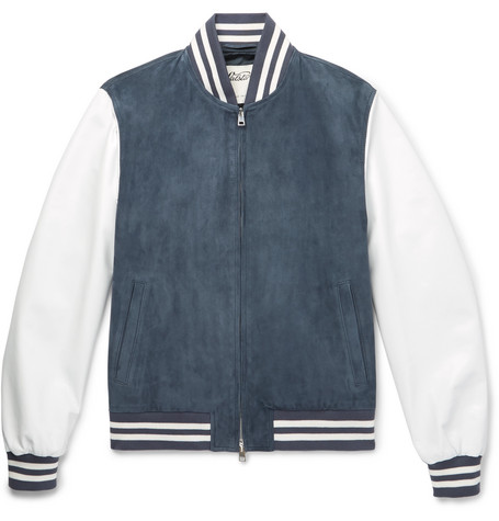 Suede And Leather Bomber Jacket - Storm blue