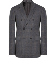 CALVIN KLEIN 205W39NYC - Grey Slim-Fit Double-Breasted Prince of Wales Checked Wool Suit Jacket