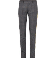 CALVIN KLEIN 205W39NYC Grey Slim-Fit Velvet-Trimmed Prince of Wales Checked Wool Suit Trousers