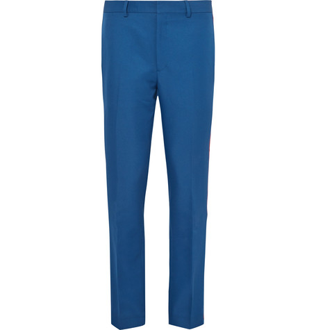 Outlet Pictures Cobalt Slim-fit Velvet-trimmed Twill Trousers CALVIN KLEIN 205W39NYC Outlet Shopping Online Best Wholesale Free Shipping Fashionable Buy Cheap Outlet KNbxlKLu