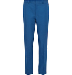 CALVIN KLEIN 205W39NYC Cobalt Slim-Fit Velvet-Trimmed Twill Trousers