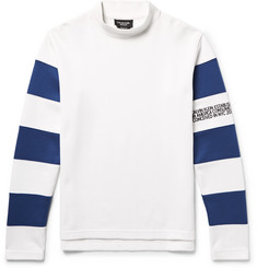 CALVIN KLEIN 205W39NYC Embroidered Striped Cotton-Jersey Mock-Neck Sweatshirt
