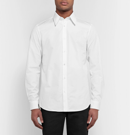 Slim Fit Embroidered Cotton Poplin Shirt by Calvin Klein 205 W39 Nyc