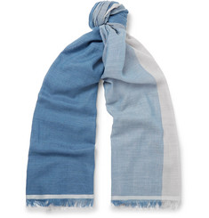 Begg & Co Fiji Checked Cashmere, Cotton, Linen and Silk-Blend Scarf