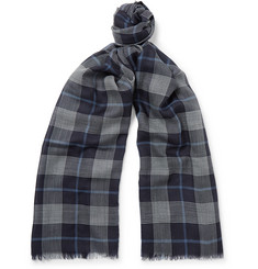 Begg & Co - Fringed Checked Cashmere Scarf